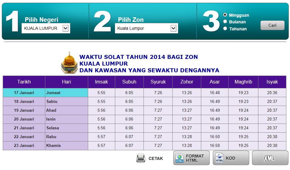 Asp Net Dan Waktu Solat Malaysia